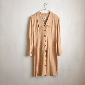 Vintage dress buttoned down beige casual 12
